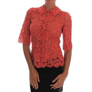 Dolce & Gabbana Orange Crystal Buttons Floral Lace Blouse