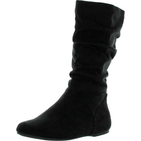 Soda Womens Zuluu-2 Soda Girly Fashion Slouchy Knee-High Flat Boots With Side Zipper In Black Faux Suede