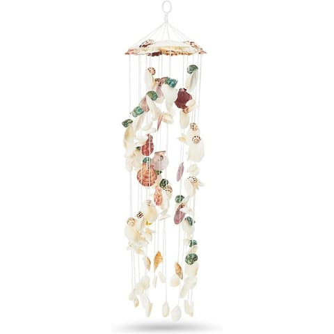 """Seashell Wind Chime Indoor Outdoor Beach Home Decor 6""""x25"""" Colorful Sea Shell"""