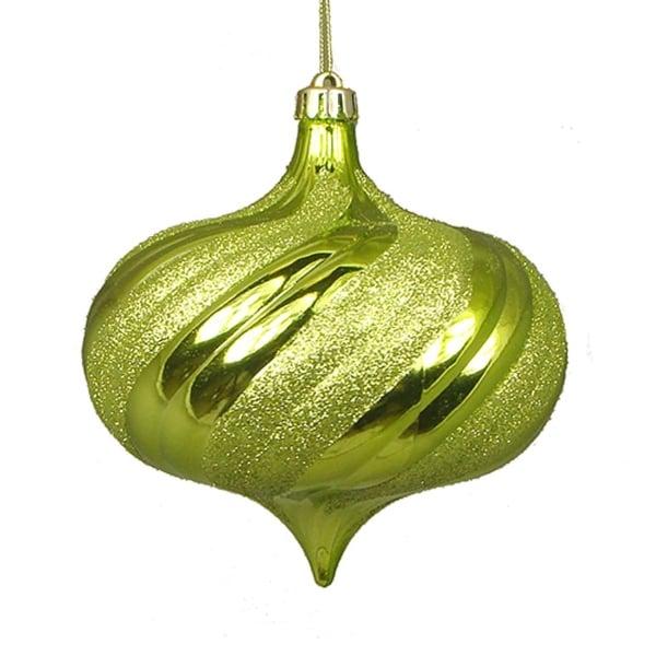 """4ct Shiny Green Kiwi Glitter Swirl Shatterproof Onion Christmas Ornaments 5.75"""""""