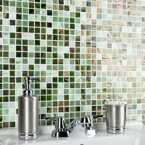 """SomerTile Coppa Forest 12"""" x 12"""" Glass Mosaic Tile"""
