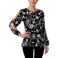 Vince Camuto Womens Blouse Cold Shoulder Floral Printed