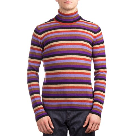 Prada Men's Cashmere Turtleneck Striped Sweater Multicolor