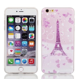 Soft Plastic Eiffel Tower Print Case Cover for Apple iPhone 6 Plus 5.5  Pink
