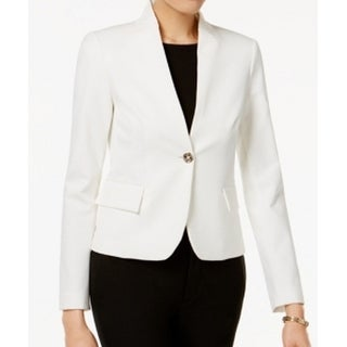Tommy Hilfiger NEW White Ivory Womens Size 6 Stand-Collar Scuba Blazer