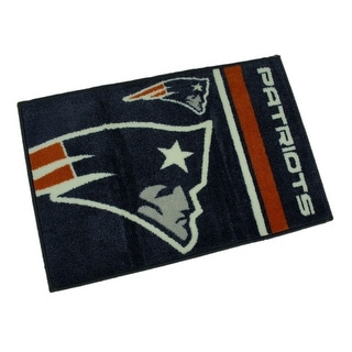 New England Patriots 20 By 30 Inch Tufted Non-Skid Officially Licensed Bath Rug - navy