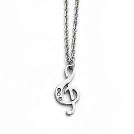 Chisel Stainless Steel Polished Treble Clef with Crystals Necklace - 18 in