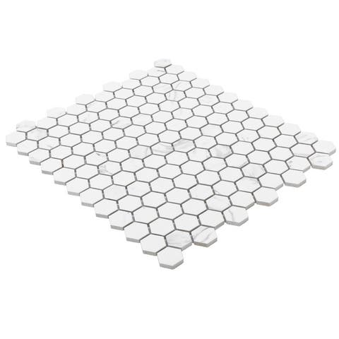 Industry Tile 10.23x11.81 Hexagon Carrara White porcelain mosaic tile (10 pc/ box)