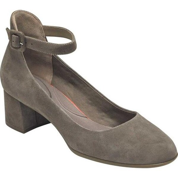 Rockport Women  x27 s Total Motion Novalie Ankle Strap Shoe Warm Iron Kid  Suede 97a46bbb85