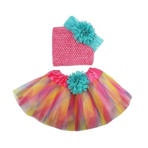 Girls Pastel Tutu Skirt Aqua Flower Lace Headband Set 0-8Y