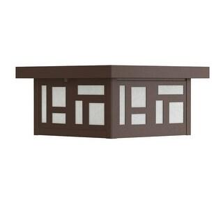 "Park Harbor PHEL3205 Weaver 12"" Wide 2-Light Flush Mount Outdoor Ceiling Fixture - Chocolate Bronze - N/A"