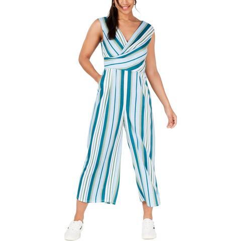 Be Bop Womens Juniors Jumpsuit Faux Wrap Striped - Ivory