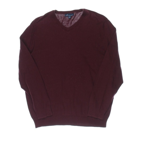 John Ashford Mens Pullover Sweater Ribbed Trim V-Neck