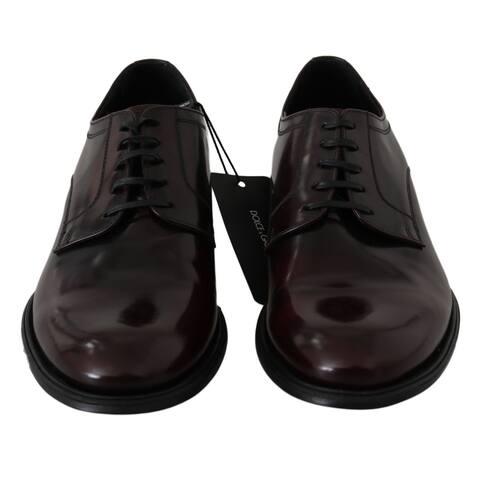 Dolce & Gabbana Red Bordeaux Leather Derby Dress Mens Men's Shoes