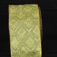 "Green Windsor Print Wired Craft Ribbon 4"" x 40 Yards"