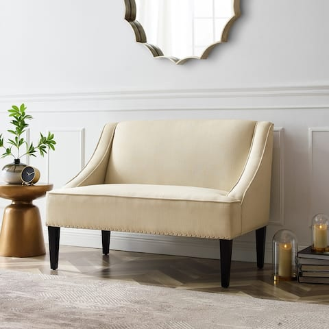 Danica Upholstered Linen Swoop Arm Bench with Nailhead Trim