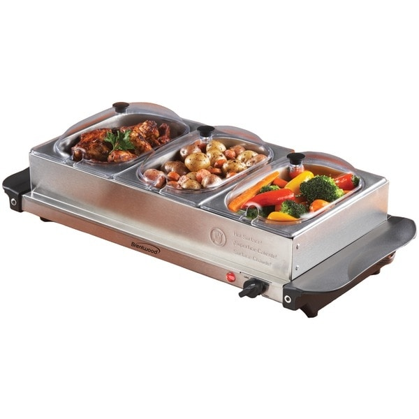 BRENTWOOD BF-315 Triple Buffet Server with Warming Tray & Three 1.5-Quart Steel Pans