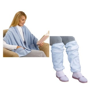 Women's Fleece Pocket Shawl and Leg Warmers Set - One size