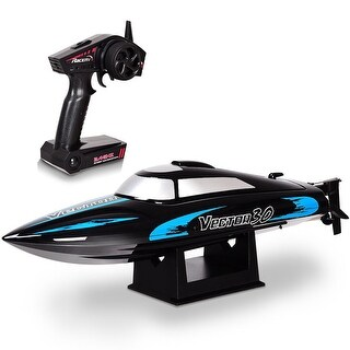 Costway 2.4G RC Racing Boat High Speed 30KM/H Brushed RTR Fast Racing Lake Toy Gift New - Black