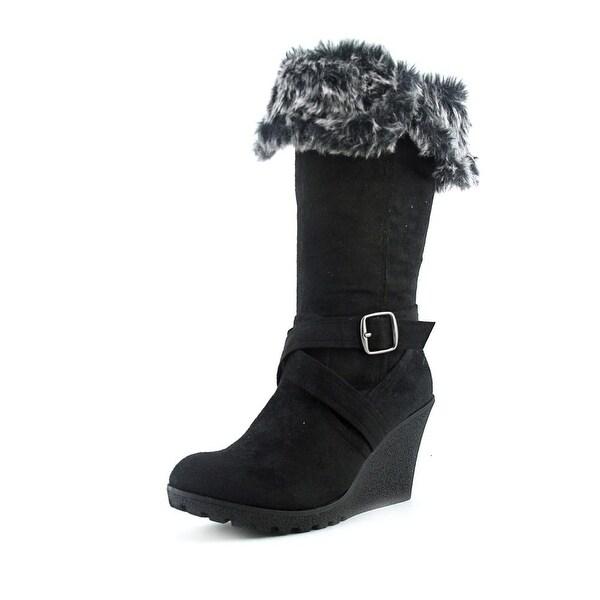 XOXO Olivia   Round Toe Synthetic  Mid Calf Boot