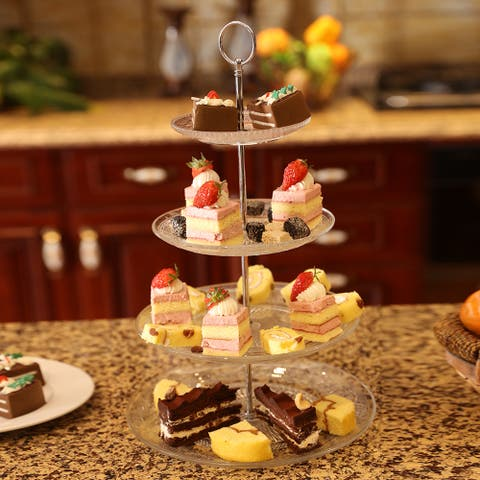 3 Tier VINTAGE STYLE Cake Clear Glass Stand Display