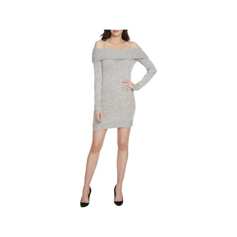 William Rast Womens Sweaterdress Off-The-Shoulder Heathered