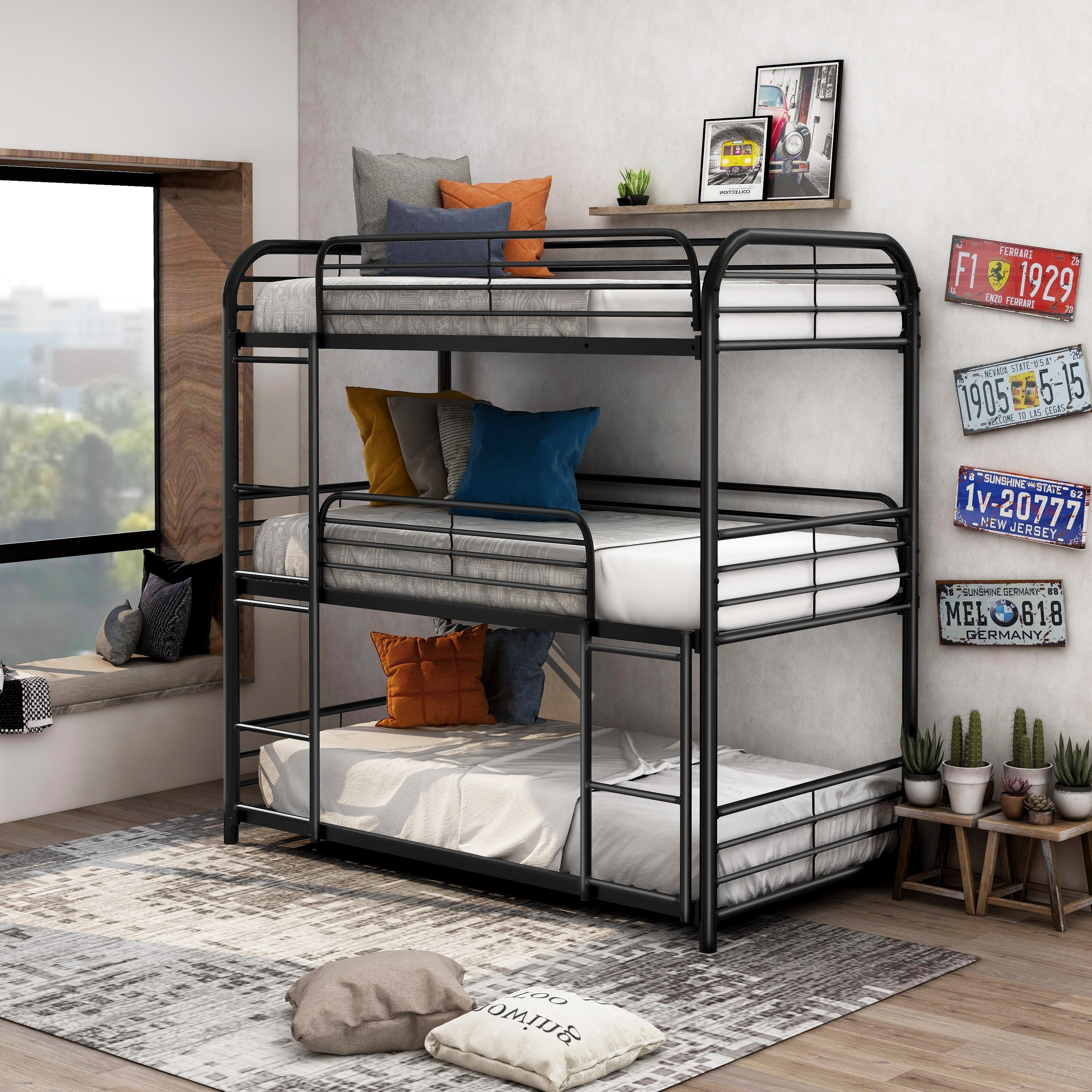 Picture of: Furniture Of America Zord Transitional Twin Metal Triple Bunk Bed Overstock 23562759