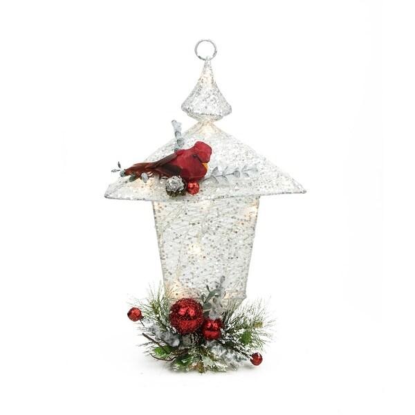 """16"""" Sparkling LED Lighted White Glittered Christmas Lantern Decoration"""