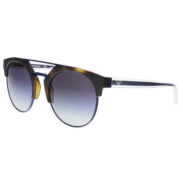 81b84580e5f Emporio Armani EA4092 50898G Matte Havana  Matte Blue Round Sunglasses -  53-21-