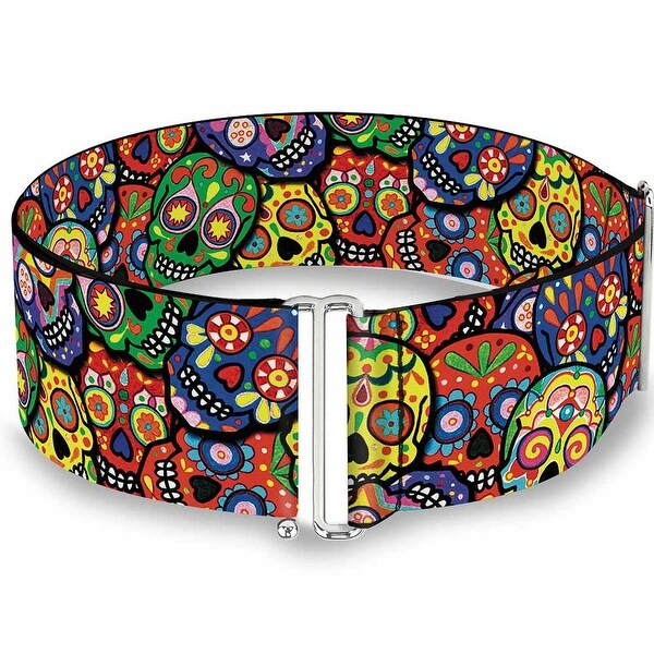 Colorful Calaveras Stacked Multi Color Cinch Waist Belt ONE SIZE