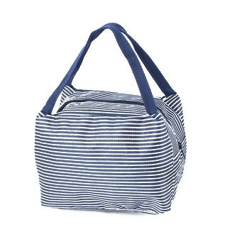 Outdoor Stripes Insulated Thermal Cooler Lunch Bag Picnic Container Navy Blue