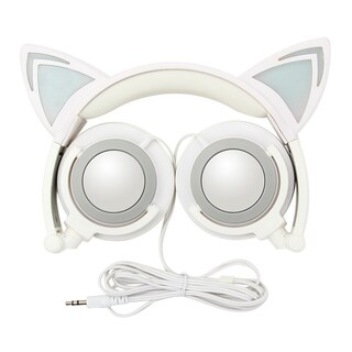 TechComm K7 LED Headphones with Pointy Cat Ears and Spare Battery