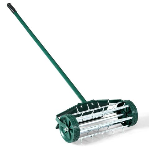 18-inch Rolling Lawn Aerator roller Push Tine Soil with Fender