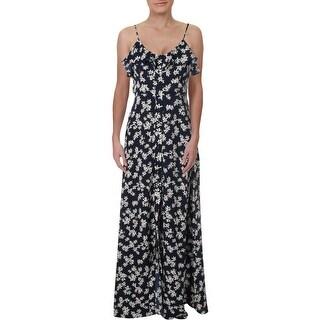 Aqua Womens Maxi Dress Floral Ruffled - Navy