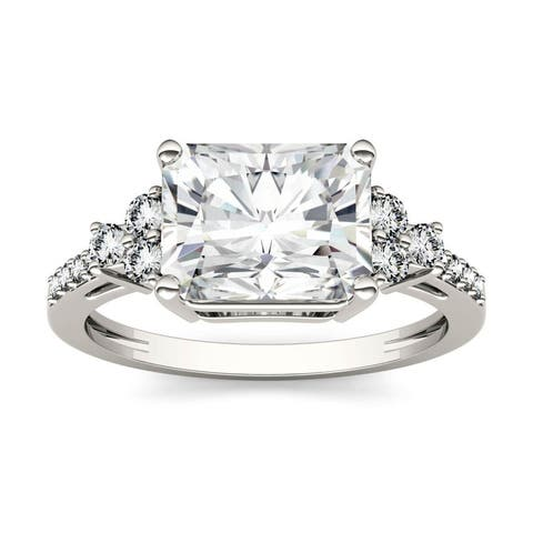 14k White Gold 2.90ct Moissanite Radiant Cut East-West Engagement Ring