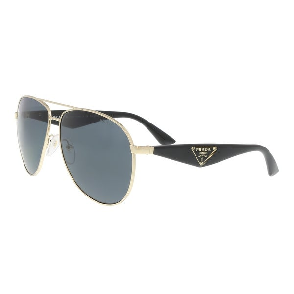 3768494b5f Shop Prada PR 08SS 7S00A7 Gold Black Aviator Sunglasses - 60-13-140 ...