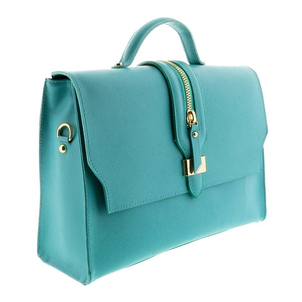 HS2056 TQ QUATRA Turquoise Leather Satchel/Shoulder Bag - 12-9-4