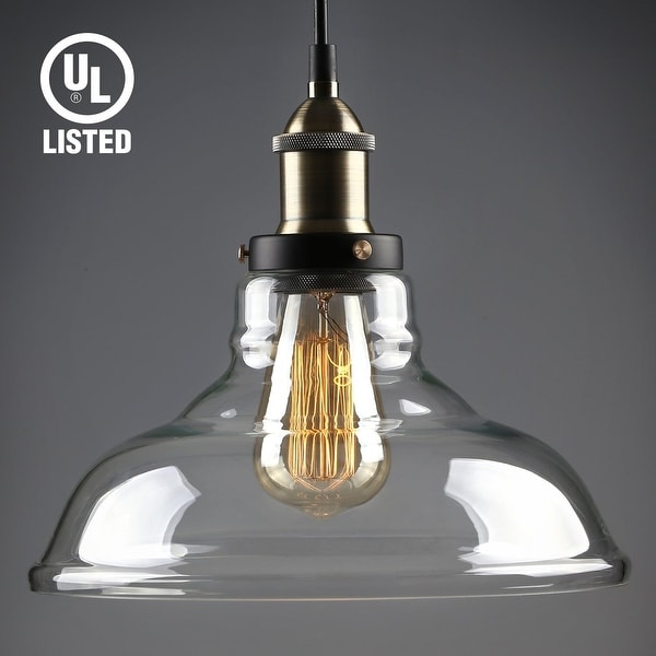 Glass Pendant Light, Edison Vintage Style Clear Transparent Hanging Lampshade
