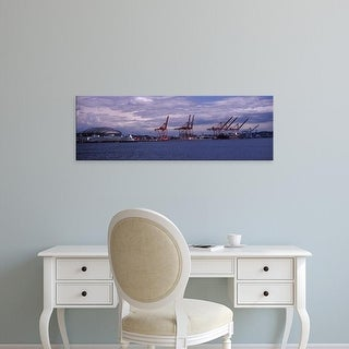 Easy Art Prints Panoramic Images's 'Ferry in the bay, Seattle, King County, Washington State, USA' Premium Canvas Art