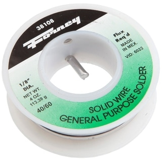 """Forney 38108 Solder, 40/60 Solid Wire, 1/8"""", 1/4 lbs"""