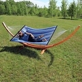 Sunnydaze Wooden Curved Arc Hammock & Hammock Stand, 12 Feet Long, 400 Pound Capacity - Thumbnail 10