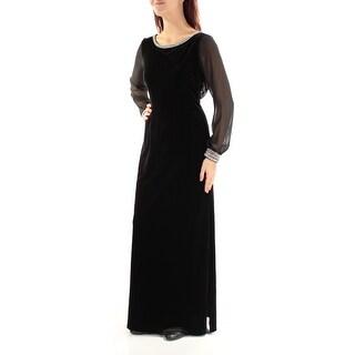 ALEX EVENINGS $199 Womens New 1289 Black Beaded Sheer Long Sleeve Dress 8 B+B
