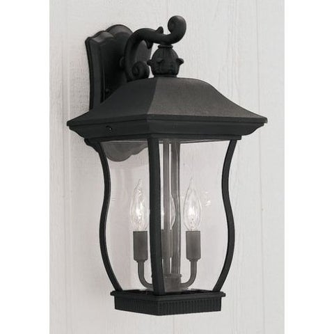 "Designers Fountain 2722-BK 3 Light 9"" Cast Aluminum Cast Wall Lantern from the Chelsea Collection"