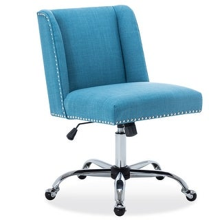 BELLEZE Upholstered Fabric Office Chair Nailhead Trim Swivel Task Chair Height Adjustable, Blue