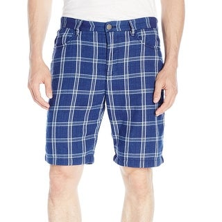 CALVIN KLEIN JEANS NEW Blue Mens 38 Plaid Double-Cloth Casual Shorts