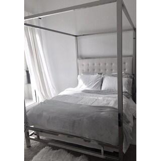 solivita queen-size canopy chrome metal poster bedinspire q