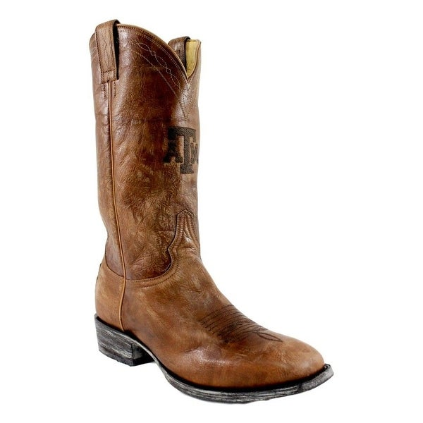 Gameday Boots Men Texas A&M Square Toe Leather Stitching