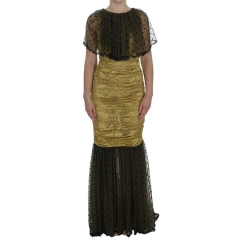 Dolce & Gabbana Dolce & Gabbana Yellow Black Floral Lace Ricamo Gown Dress - it40-s