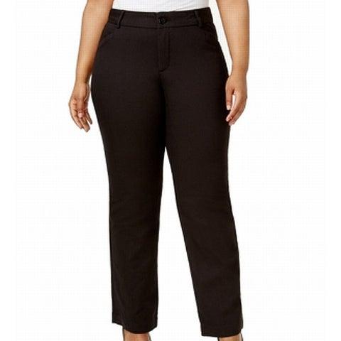 Lee Womens Plus Petite Flat-Front Dress Pants Stretch