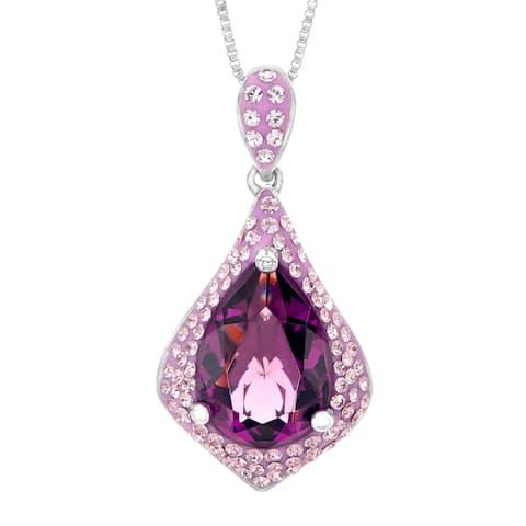 Crystaluxe Teardrop Pendant with Swarovski Crystals in Sterling Silver - Purple